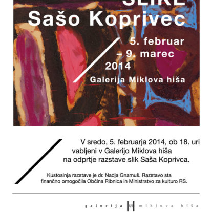 Odprtje razstave slik Saša Koprivca